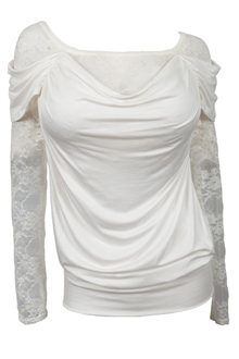Plus size Floral Lace Sleeve Top Ivory