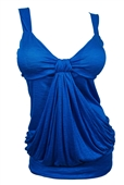 Plus size Low Cut Draping Top Blue