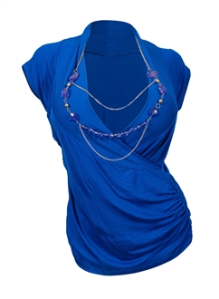 Plus size Deep V-Neck Wrap Bodice Top /w Necklace Detail Royal Blue