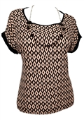 Plus Size Abstract Print Top with Necklace Detail Black Taupe
