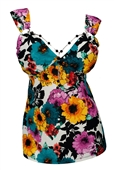 Plus Size Sexy Lace Bodice O-Ring Necklace Sleeveless Top Teal Floral Print