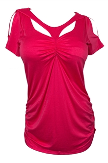 Plus Size Off Shoulder Racer Back Tunic Top Coral