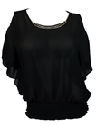 Plus size Necklace Accented Off Shoulder Top Black