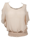 Plus size Necklace Accented Off Shoulder Top Beige
