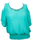 Plus size Necklace Accented Off Shoulder Top Teal