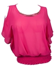 Plus size Necklace Accented Off Shoulder Top Pink