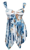 Plus size Deep V-neck Asymmetric Slimming Sublimation Print Top Blue Brown