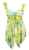 Plus size Deep V-neck Asymmetric Slimming Sublimation Print Top Lime
