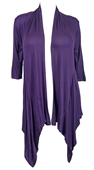 Plus Size Longline Drape Front Cardigan Purple