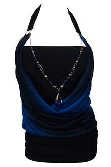 Plus size Glitter Stripes Necklace Accented O-ring Strap Top Royal Blue