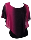 Plus Size Layered Poncho Top with Glitter Detail Fuchsia
