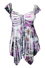 Plus size Deep V-neck Asymmetric Slimming Top Purple Sublimation Print