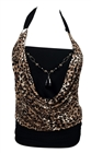Plus size Glitter Stripes Necklace Accented O-ring Strap Top Animal Print