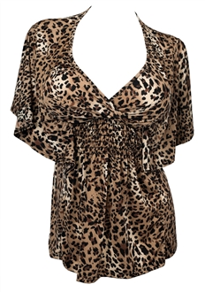 Plus Size Slimming V-neck Smocked Empire Waist Top Animal Print 2