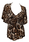 Plus Size Slimming V-neck Smocked Empire Waist Top Animal Print 3