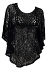 Plus Size Sheer Crochet Floral Lace Poncho Top Black