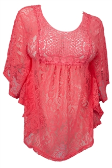 Plus Size Sheer Crochet Floral Lace Poncho Top Pink