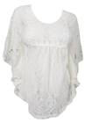 Plus Size Sheer Crochet Floral Lace Poncho Top Off White