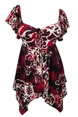 Plus size Deep V-neck Asymmetric Slimming Top Burgundy Designer Print