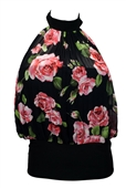 Plus size Floral Print Layered Halter Top Black