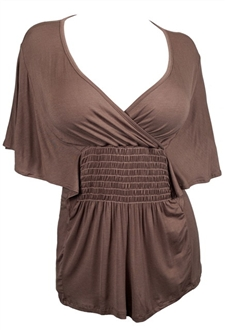 Plus Size Slimming V-neck Smocked Empire Waist Top Brown