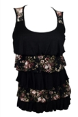 Plus Size Tiered Ruffle Tank Top Black Floral Print