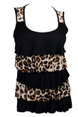 Plus Size Tiered Ruffle Tank Top Animal Print