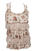 Plus Size Tiered Ruffle Tank Top Ivory Floral Print