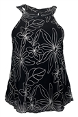 Plus size Floral Embroidery Halter Top Black
