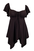 Plus size Deep V-neck Asymmetric Slimming Top Dark Brown