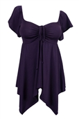 Plus size Deep V-neck Asymmetric Slimming Top Purple
