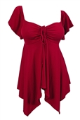 Plus size Deep V-neck Asymmetric Slimming Top Ruby Red