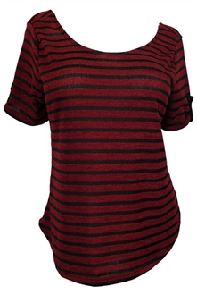 Plus size Open Back Striped Knit Top Burgundy