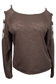 Plus size Cutout Long Sleeve Knit Top Brown