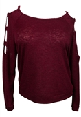 Plus size Cutout Long Sleeve Knit Top Burgundy