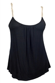 Plus size Gold Chain Strap Cami Top Black