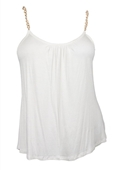 Plus size Gold Chain Strap Cami Top White