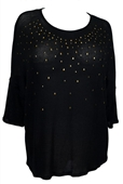 Plus size Studded Three Quarter Sleeve Knit Top Black