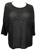 Plus size Studded Three Quarter Sleeve Knit Top Gray