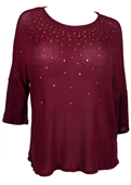 Plus size Studded Three Quarter Sleeve Knit Top Burgundy