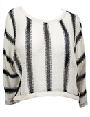 Plus size High Low Striped Sweater Top White