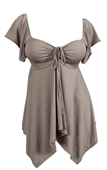 Plus size Deep V-neck Asymmetric Slimming Top Taupe