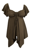 Plus size Deep V-neck Asymmetric Slimming Top Olive Green