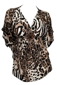Plus Size Low Cut V-Neck Slimming Animal Print Top
