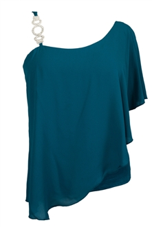 Plus Size Asymmetric Pendant Strap One Shoulder Layered Top Teal