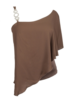 Plus Size Asymmetric Pendant Strap One Shoulder Layered Top Taupe