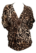 Plus Size Low Cut V-Neck Slimming Animal Print Top 2