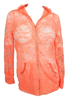 Plus Size Lace Zipper Front Hoodie Top Coral