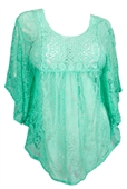 Plus Size Sheer Crochet Floral Lace Poncho Top Mint