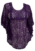 Plus Size Sheer Crochet Floral Lace Poncho Top Purple